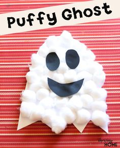 halloween craft puffy ghost                              …