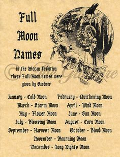 Full Moons & Their Names, Book of Shadows Spell Page, Wicca, Witchcraft, Pagan - Witch - Combins Wiccan Witch, Magick Spells, Wicca Witchcraft, Wiccan Books, Witch Spells Real, Magick Book, Wiccan Art, Full Moon Names, Symbole Viking