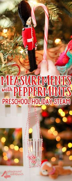 Use peppermints and candy canes as math manipulatives this Christmas. We used them in this simple preschool measurement activity - to measure both length with candy canes and weight with peppermints! | STEM | STEAM | Math | Measurement | Preschool | Elementary |