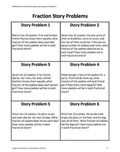 Here's a lesson on modeling and solving fraction story problems.