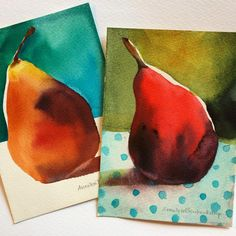 ick a pear...any pear... #stilllifepainting #painting #watercolor #watercolour #aquarelle #instaart #pearpainting #holbeinwatercolors