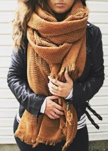#winter #fashion / oversized scarf + leather