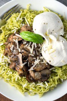 Pesto Spaghetti Squash with Mushrooms and Burrata