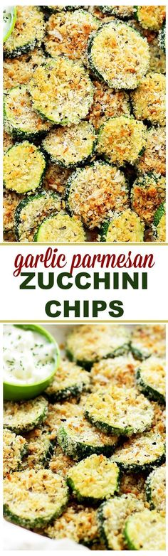 Baked Garlic Parmesan Zucchini Chips Healthy, crispy and flavorful baked zucchini chips recipe covered in seasoned panko bread crumbs with garlic and Parmesan. Bake in a 450 degree oven 8 - 10 min. Parmesan Zucchini Chips, Zucchini Chips Recipe, Garlic Parmesan, Zucchini Cheese, Baked Zuchinni Recipes, Healthy Zucchini, Baked Breaded Zucchini, Healthy Garlic Bread, Yellow Zucchini Recipes
