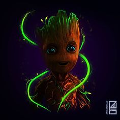 Baby Groot neon wallpaper  Credit: @aniketjatav on instagram  Youtube channel : m.youtube.com/artsyaniket