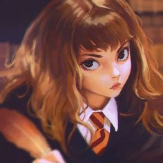 Anime picture harry potter hermione granger ilya kuvshinov long hair single looking at viewer fringe brown hair brown eyes holding lips realistic eyebrows girl uniform school uniform shirt necktie white shirt feather (feathers) 396429 en Harry Potter Hermione, Harry Potter Fan Art, Hery Potter, Harry Potter Characters, Ron Weasley, Draco Malfoy, Hermione Granger Art, Anime Characters, Hermione Fan Art