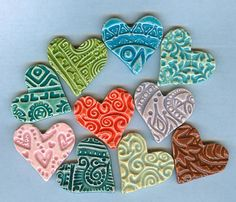 """textured clay hearts: can anyone say, """"wind chime""""? ;-{)"""