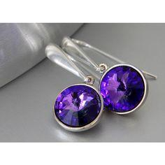 Swarovski Rivoli Earrings, Heliotrope Crystals, Purple Earrings, Long... ($25) ❤ liked on Polyvore featuring jewelry and earrings