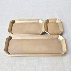 Brass Stationery Trays - muhshome.com - collab between designer Oji Masanori & Japanese Foundry Futagami, cast in raw brass, octagonal $50-75US