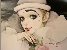 Large Harlequin Pierrot Art Print by Mira Fujita