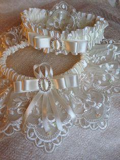 "The "" Juliette "" Cream Garter Set. Ships worldwide. Wedding Garters of distinction. https://www.etsy.com/listing/200585316/the-juliette-cream-garter-set?ref=shop_home_active_17"