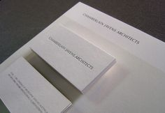 Chamberlain Javens Architects Stationery – Letterheads Offset printed in 2 colours on Stephen Swiss White 115gsm paper.  Business cards Offset printed back, Letterpressed front on Stephen Swiss White 330gsm then triplexed with Jet black Optix 140gsm paper inserted in the  middle.  Designed by Pom Kimber.