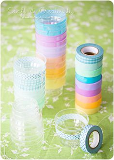 use colored/decorative tape to decorate clear plastic cups