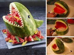 Návod ako vytvoriť žraloka z melóna