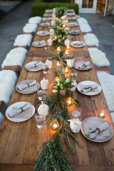 Love the table and napkins and runner and candles Though this one looks piney and probably would need a different plant. Diff chairs though