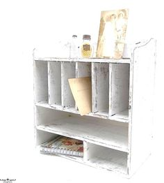 Vintage Shabby Chic Wood Cubby SHelf. Pigeon by 3vintagehearts,