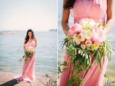 pink wedding dress // flowers by HeyLook