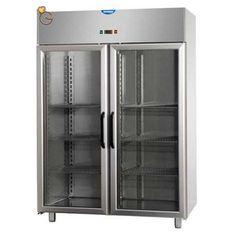 Armadio combinato refrigerato GN 2/1 in acciaio inox a doppia temperatura (TN+BT) con 2 porte in vetro e 2 luce al neon interna.Piedi in acciaio inossidabile regolabili in altzza. Dimensioni  L1420xP.800xH.2030/2100 Capacità LT.1400 Temperature 0/+10°C Temperature -18°C/-22°C Gas refrigeranti R404A/R507 Assorbimento W 385+650 Alimentazione 230-1-50 Dotazione 6 griglie e 12 guide in acciaio inox