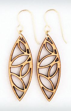Leaves Laser Cut Earrings by foliadesignsf on Etsy Wooden Earrings, Wooden Jewelry, Leaf Earrings, Leather Jewelry, Cnc Laser, 3d Laser Printer, Artisan Jewelry, Handmade Jewelry, Laser Cutter Projects