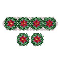 Poinsettia Wreath Beaded Bracelet & Earrings | Bead-Patterns.com