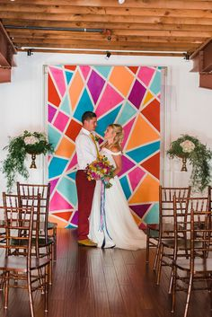 Colorful geometric ceremony backdrop