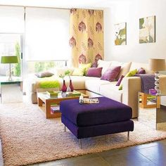 Purple, Red and Light Green Color Combinations that Differentiate Modern Living Room Designs