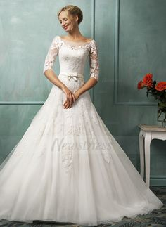 A-Line/Princess Off-the-Shoulder Chapel Train Bow(s) Tulle Lace Covered Button Sleeves 1/2 Sleeves Church No Winter Fall Ivory White Wedding Dress