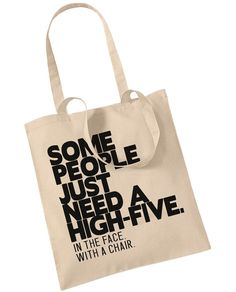 Some People Just Need A High Five Tote Bag Retro by BlueIvoryLane, £7.99
