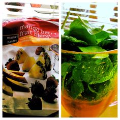 Frozen fruits w/ fresh spinach make an awesome Green Power Smoothie for breakfast.