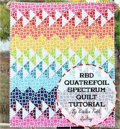 Riley Blake Designs -- Cutting Corners: Quatrefoil Spectrum Quilt Tutorial #quatrefoil #rileyblakedesigns #rainbow #quilttutorial