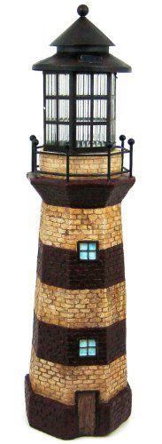 Solar Wholesale 3025 Lighthouse Solar Powered Garden Sculpture Figurine Light, of Height Red Stripe Garden Lighthouse, Solar Lighthouse, Lighthouse Gifts, Lighthouse Lamp, Sun Jar, Solar Camping, Solar Licht, Garden Figurines, Patio Lighting