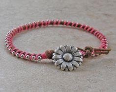 Friendship bracelet stacking bracelet hippie by PinkRhododendron, $15.00
