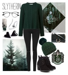"""Slytherin Winter"" by hermoinegranger ❤ liked on Polyvore featuring Topshop, Ryan Roche, Miss Selfridge, Red Herring, Burberry, Chloé, Ray-Ban and Anne Sisteron"