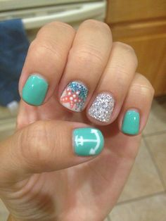 Summer beach nails!!
