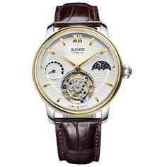Jiusko Watch,Men's-Dress-Fashion-Tourbillon-Mechanical Hand-Wind-Leather-100m-168LSG0107