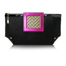 Art Deco Clutch - Pink Leather