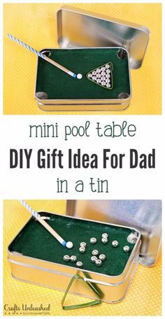 DIY Gifts for Dad - Mini Pool Table in a Tin - Best Craft Projects and Gift Ideas You Can Make for Your Father - Last Minute Presents for Birthday and Christmas - Creative Photo Projects, Gift Card Holders, Gift Baskets and Thoughtful Things to Give Fathers and Dads http://diyjoy.com/diy-gifts-for-dad
