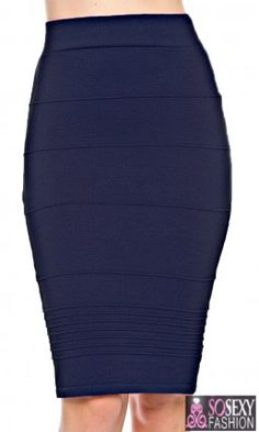 High Waisted Navy Pencil Skirt