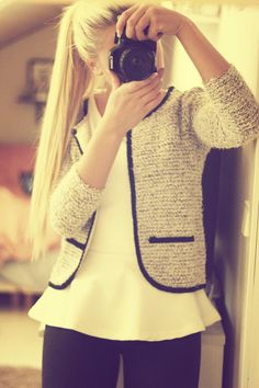 love this look, clean yet trending with a peplum blouse and a bouclé jacket.