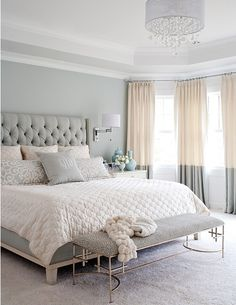 Neutral tones and linens, Create this look with a custom 'Lilly' style upholstered padded headboard custom made in any fabric from Bedhead Design