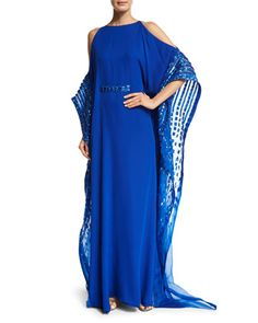 Crystal-Trim+Cold-Shoulder+Silk+Caftan,+Electric+by+Pamella+Roland+at+Neiman+Marcus.
