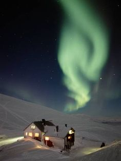 Alexandre's and Pearl's cabin and the Northern Lights after their wedding.  Shimers of Pearl by Arianne Richmonde
