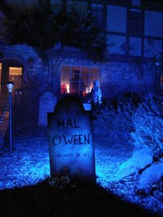 Blue Lights in the Halloween graveyard