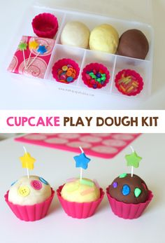 But with edible homemade play dough and edible toppings eg 🌈 rainbow sour straps, mini marshmallow clouds etc Cupcake-Play-Dough-Kit-Mama. Quiet Time Activities, Playdough Activities, Preschool Activities, Indoor Activities, Family Activities, Summer Activities, Playdough Slime, Slime Kit, Diy Slime