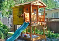 This playhouse with slide is the ultimate backyard playhouse! Our cedar sunflower playhouse with sandbox is sure to impress you kids & your neighbors! Cedar Playhouse, Outside Playhouse, Backyard Playhouse, Build A Playhouse, Backyard Playground, Kids Playhouse With Slide, Kids Playhouse Plans, Backyard Fort, Luxury Playhouses