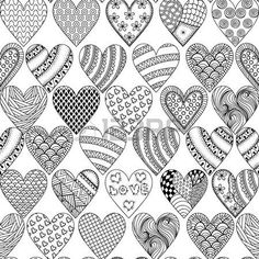Hand drawn ornamental heart with love in doodle, zentangle tribal style, seamless pattern for adult coloring pages, card for St. Vector decoration elements for postcard design. Doodle Art Designs, Doodle Patterns, Zentangle Patterns, Heart Patterns, Doodle Art Drawing, Zentangle Drawings, Zentangles, Pattern Drawing, Pattern Art
