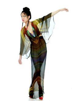 Long Silk Chiffon Peacock Print Dress