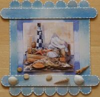 Lighthouse, seashell tongue depressor painted piece.
