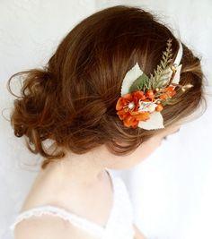 burnt orange flower headband autumn wedding fall by thehoneycomb, $55.00