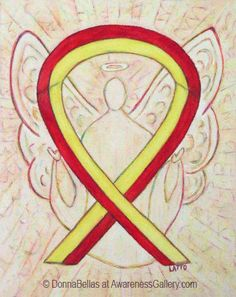 Red and Yellow Awareness Ribbon Angel Art. The red and yellow awareness ribbon means support for hepatitis C (HCV), HIV/HCV Co-Infection and Surviving family members of Suicide victims.